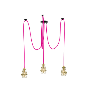 Swag Chandelier: Pink and Brass Hinge Cages Hangout Lighting 3 Swag