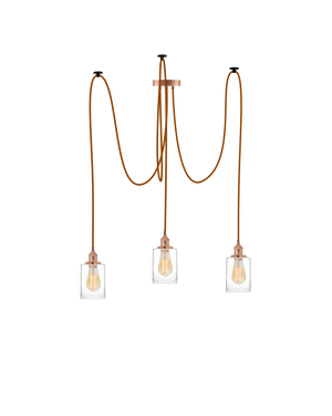 Swag Chandelier: Rust with Glass Cylinder Shades Hangout Lighting 3 Swag