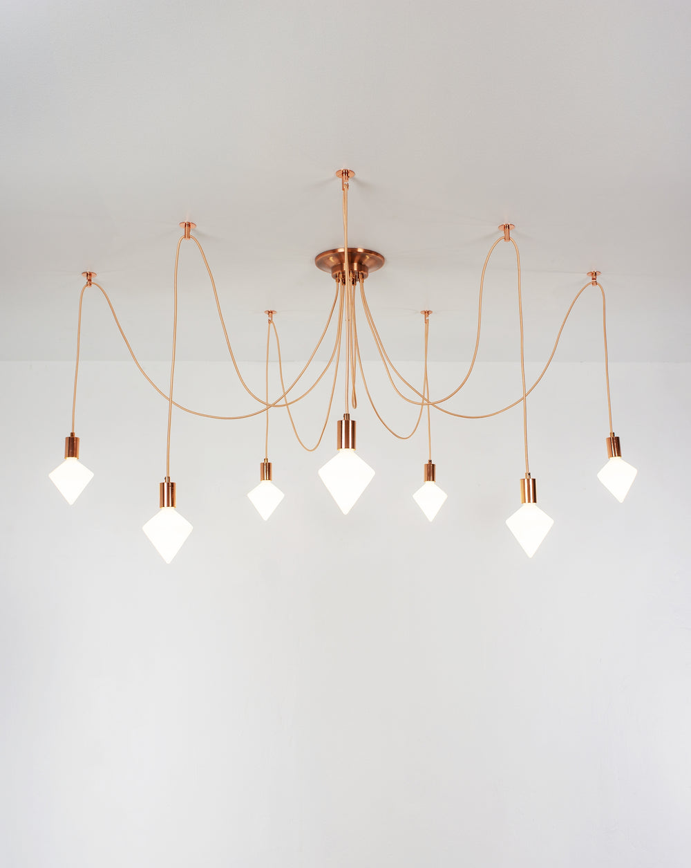 unique modern swag chandelier white diamond bulbs