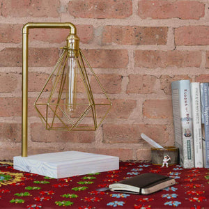 Table Lamp: Brass Pipe with Geometric Diamond Cage and White Wood Base Hangout Lighting
