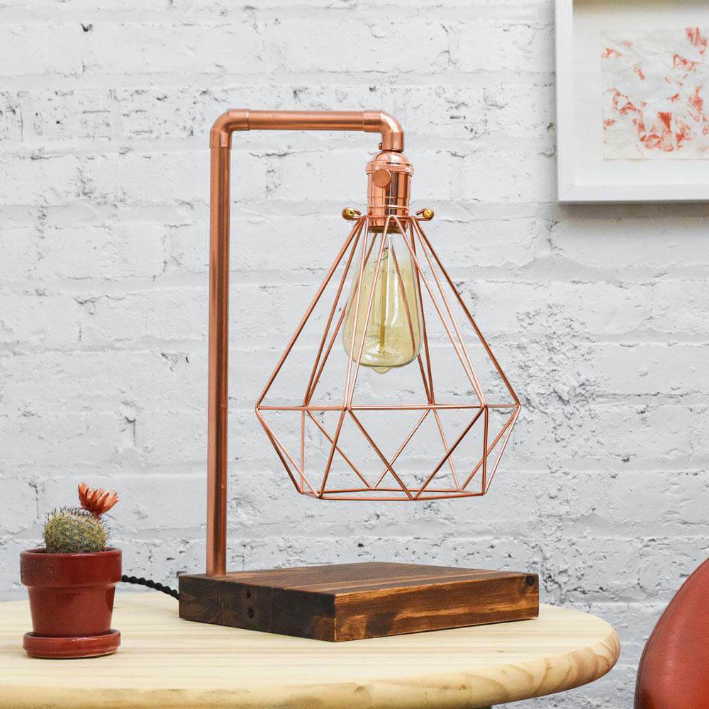 Table Lamp: Copper Pipe and Geometric Diamond Cage with Wood Base Hangout Lighting