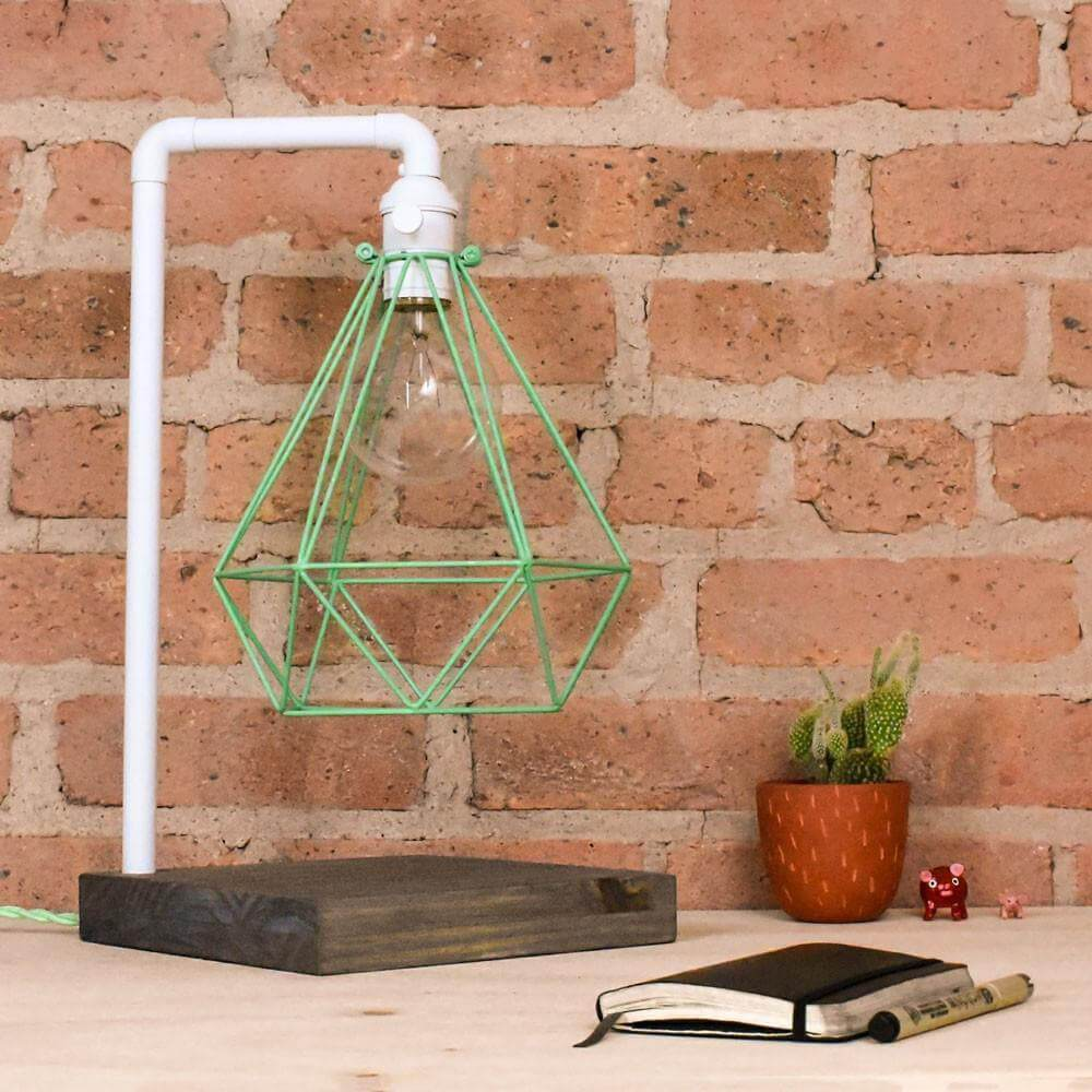 Table Lamp: White Pipe with Mint Geometric Diamond Cage and Wood Base Hangout Lighting