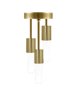Triple Flush Mount: Modern Brass Hangout Lighting