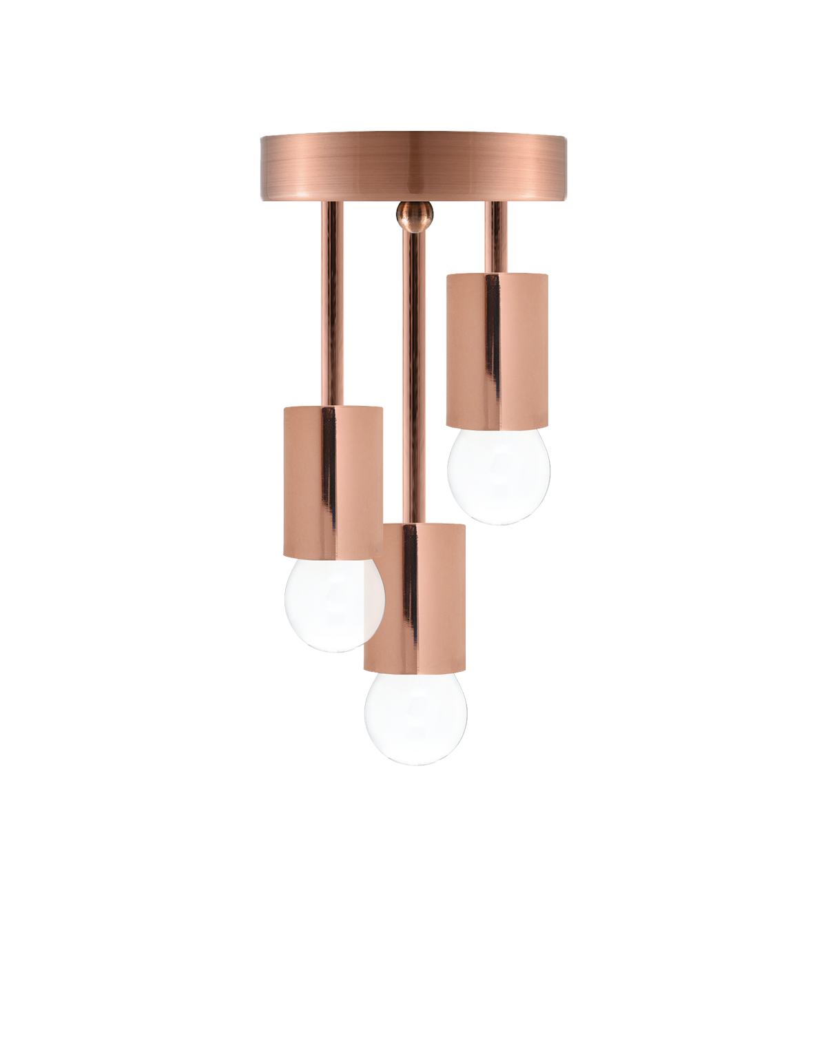 Triple Flush Mount: Modern Copper Hangout Lighting