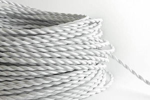White Twisted Fabric Cord by the Foot Hangout Lighting