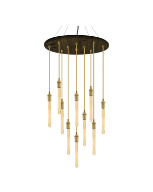 "24"" Round Wood Chandelier: Gold and Brass"