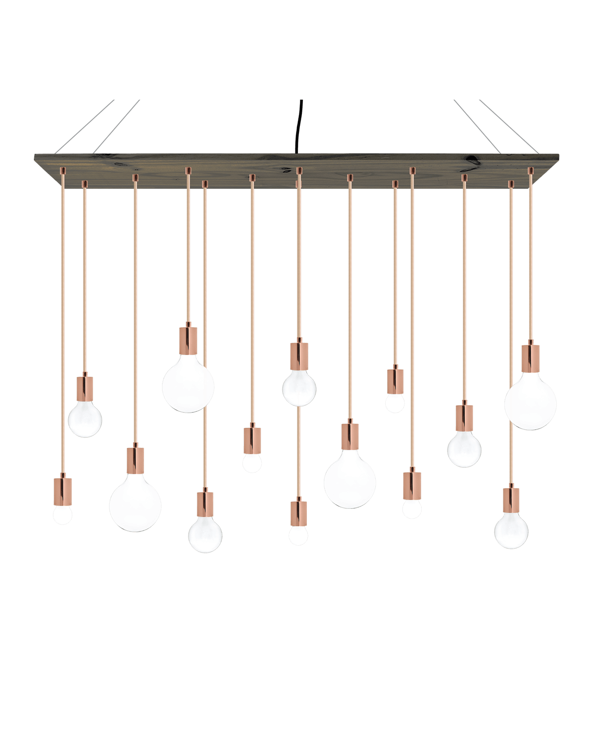 Large Wood Chandelier with Copper Pendant Lights
