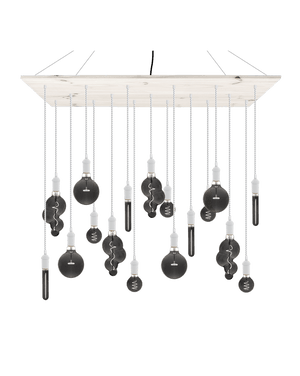 Large Modern Wood Chandelier White with Smoke Bulbs