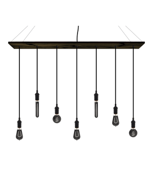 "47"" x 9"" Wood Chandelier: Black with Smoke Bulb Mix"