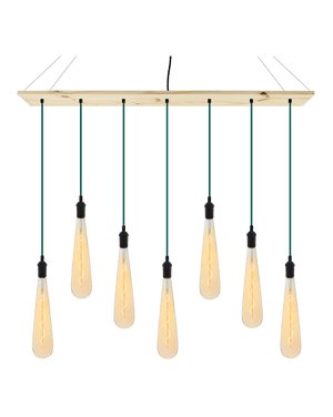 "47"" x 9"" Wood Chandelier: Teal with Amber Teardrops"