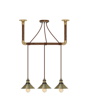 Wrap Chandelier: Brown and Antique Brass Shades Hangout Lighting 3 Pendants