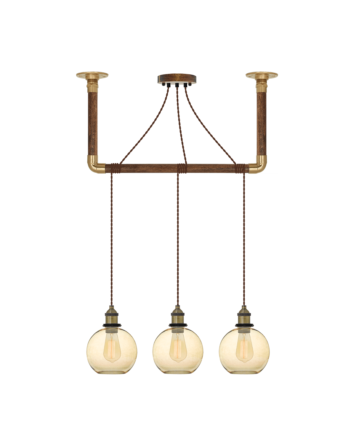 Wrap Chandelier: Brown, Brass and Amber Glass Shade Hangout Lighting 3 Pendants