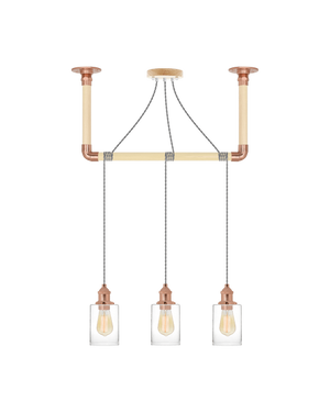 Wrap Chandelier: Grey, Copper and Glass Shade Hangout Lighting 3 Pendants