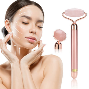 Vibrating & Massaging Jade Roller - with Natural Rose Quartz - beautywonderful.com