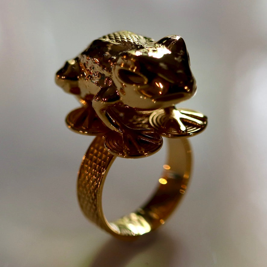 Asante Frog Mpetea (Chiefs Ring) - Gold-Plated