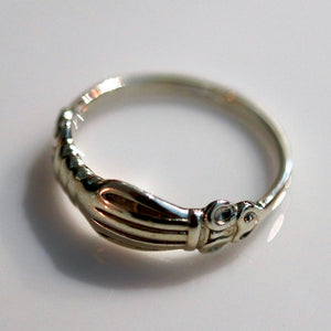 Renaissance Ring with Clasped Hands - Silver