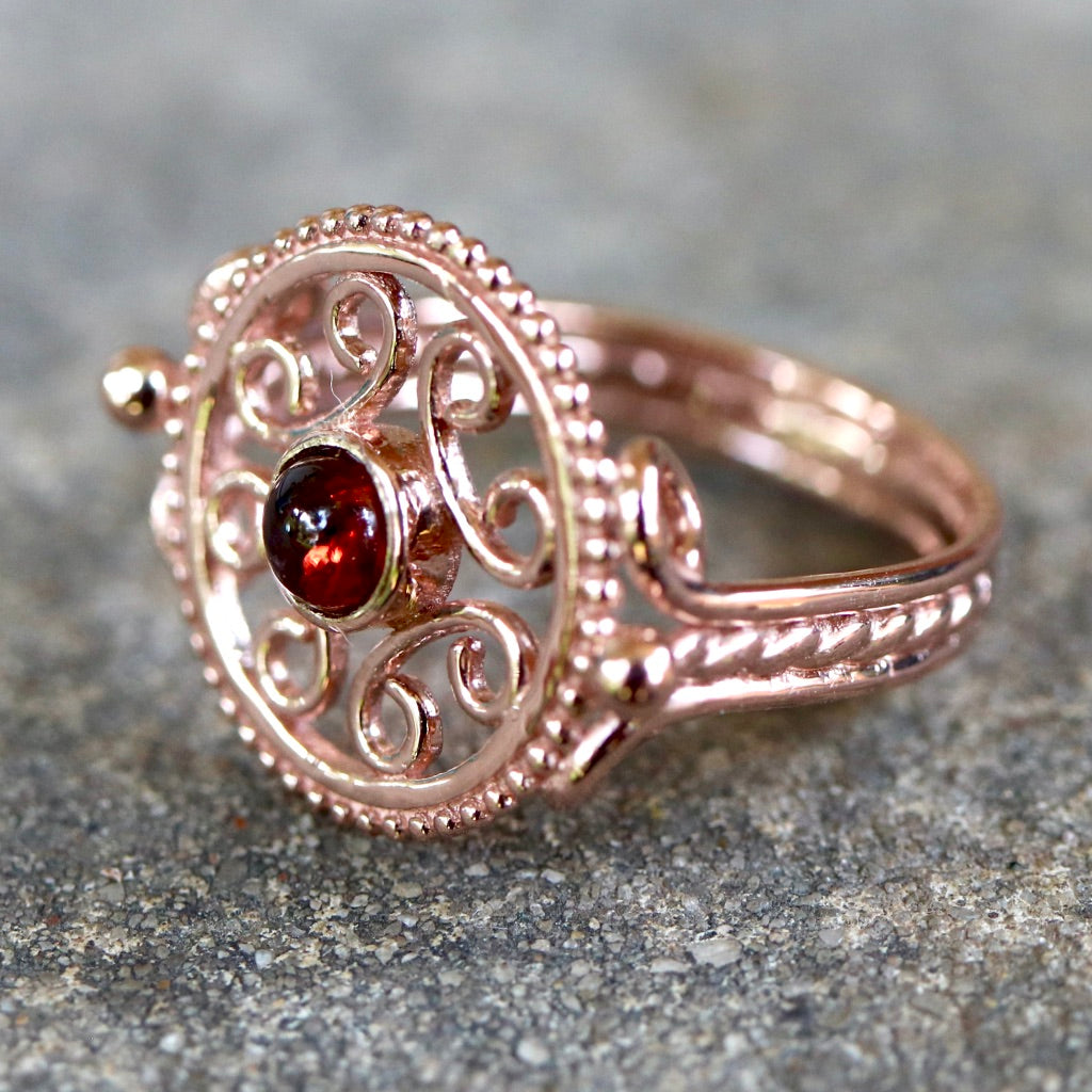 Byzantine Openwork Garnet Ring - Gold-Plated Brass