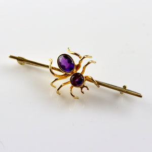 Victorian Spider Brooch - Gold-Plated Brass