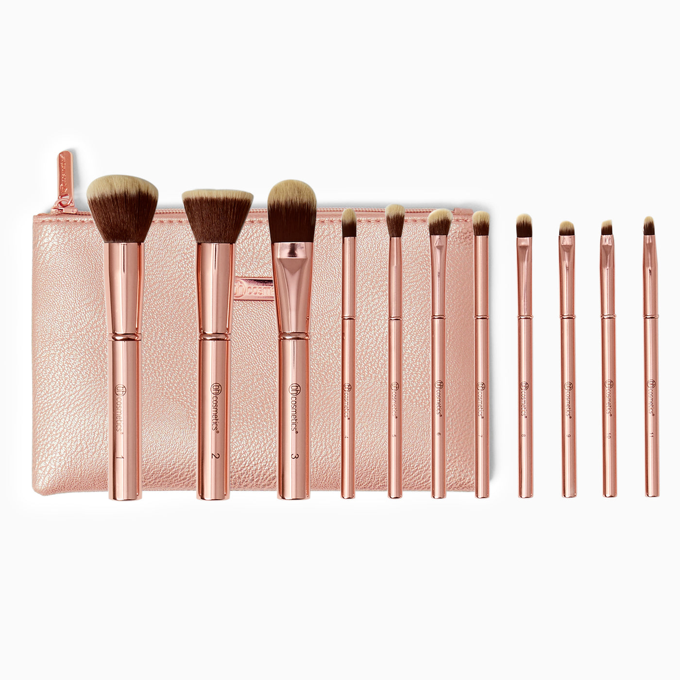 06ab050ff40df BH Cosmetics Metal Rose 11 Piece Brush Set with Cosmetic Bag