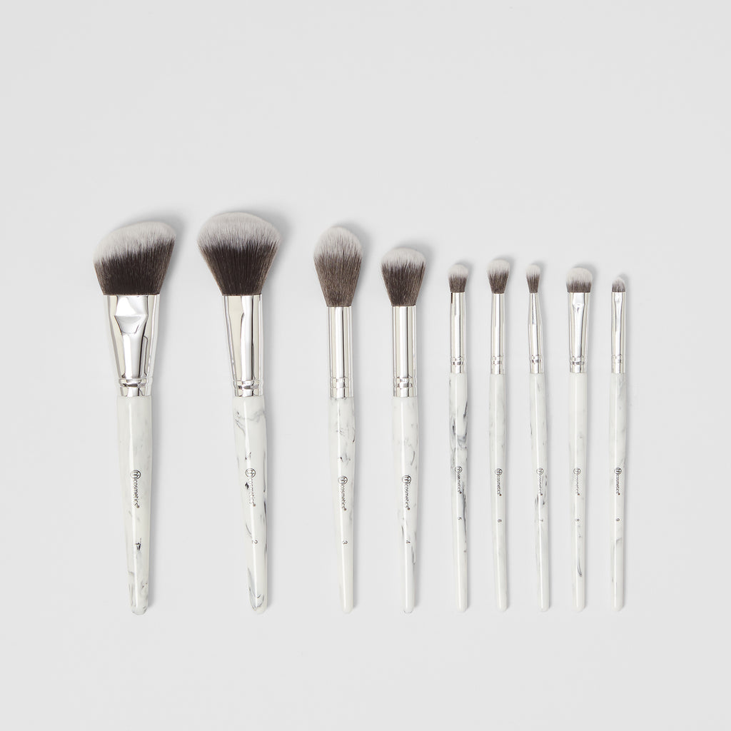 White Marble 9 Piece Brush Set With Angled Brush Holder