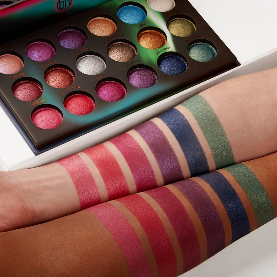Aurora Lights - 18 Color Baked Eyeshadow Palette (arm swatches)