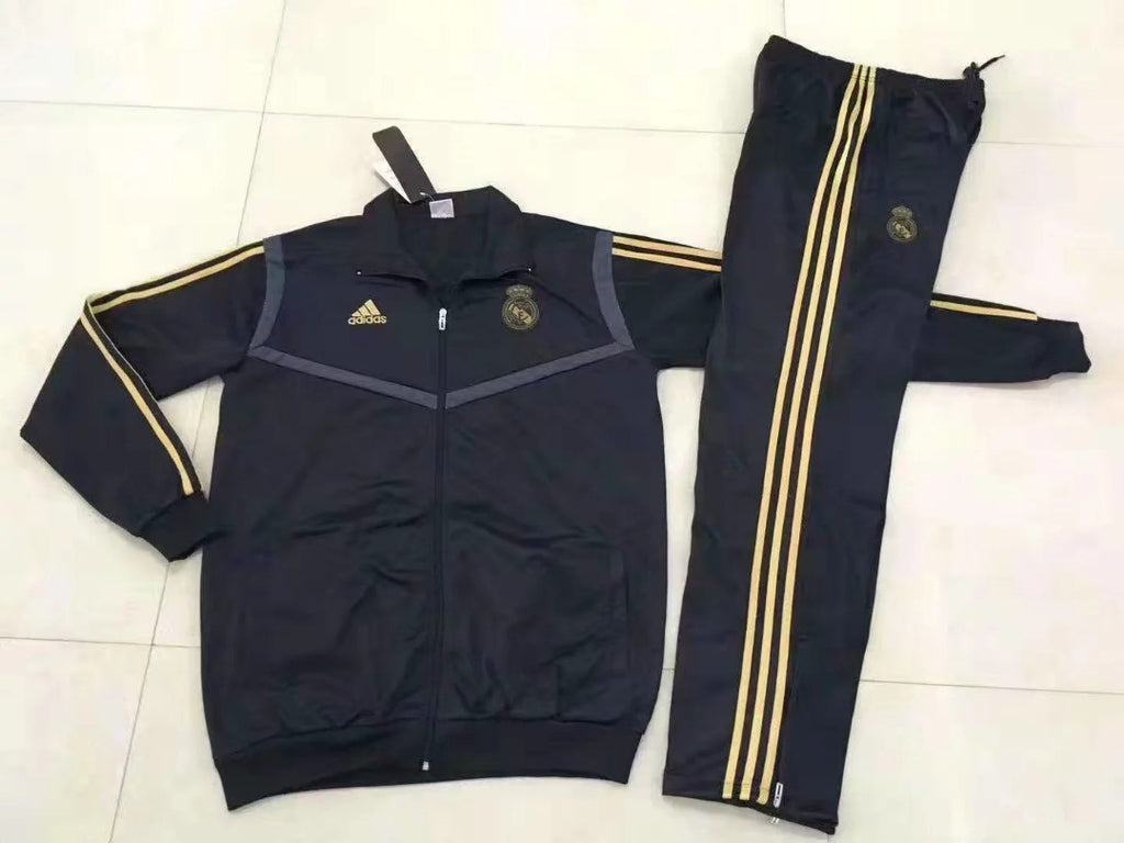 Real Madrid 2019-2020 Long Sleeve Tracksuit - Black