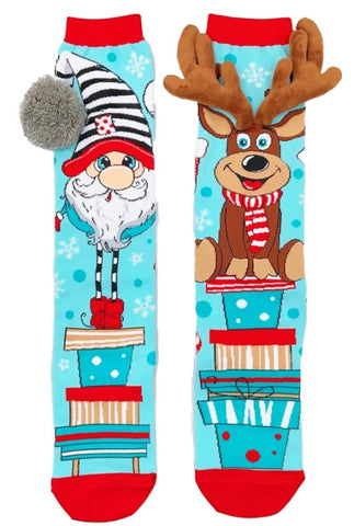 Christmas socks, madmia socks, knee high socks, santa socks, reindeer socks