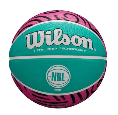 NBL Graffiti Basketball- Size 6 Seafoam Green/Pink - Little Rookie Sport (4375124475965)