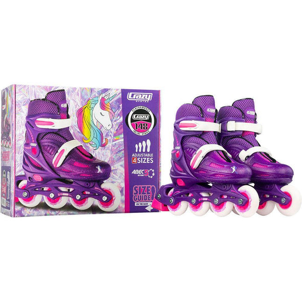 Crazy Skate 148 Adjustable Inline Skates- Purple Glitter