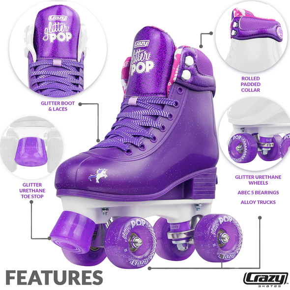 Glitter Pop Adjustable Quad Skates- Purple