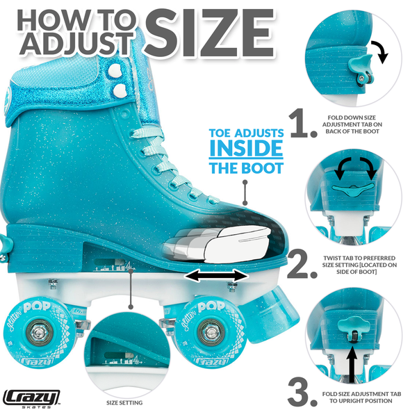 Glitter Pop Adjustable Quad Skates- Teal