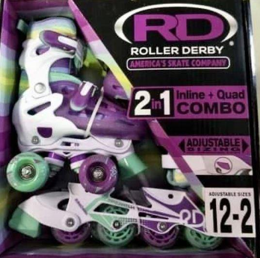 RDS 2in1 Adjustable Kids Quad/Inline Skates- Teal/Purple USJ12-2