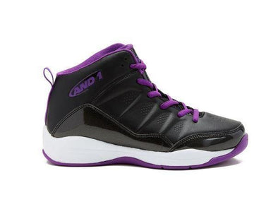 And1 Breakout Mid Kids Basketball Shoes- Black/Purple/White