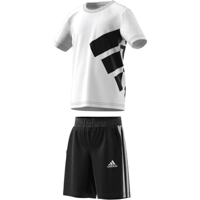 Adidas Little Kids Brand Tee Set- White/Black