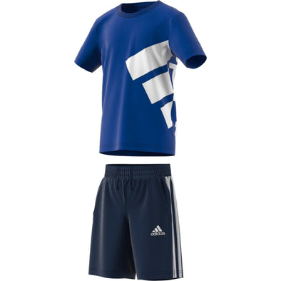 Adidas Little Kids Brand Tee Set- Royal Blue/Navy