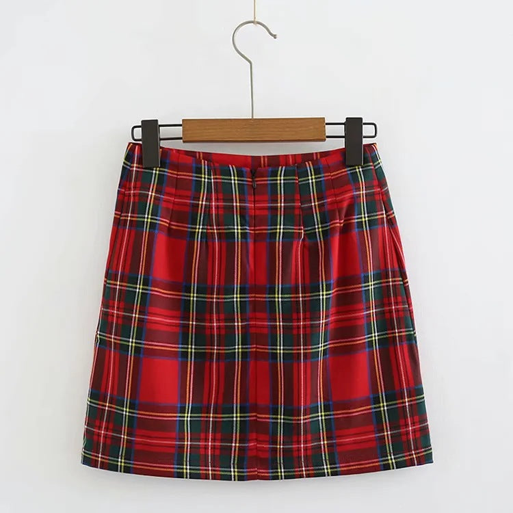 Retro Reddish Plaid Side Split Skirt