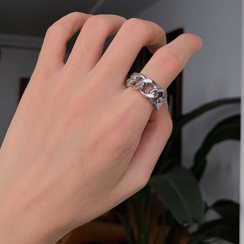 Retro Hollow Chain Linen Ring A045