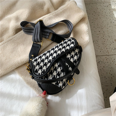 Houndstooth Print Saddle Bag
