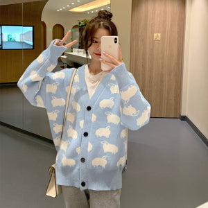 Sheep Print Knit Sky Bue Outer H9920