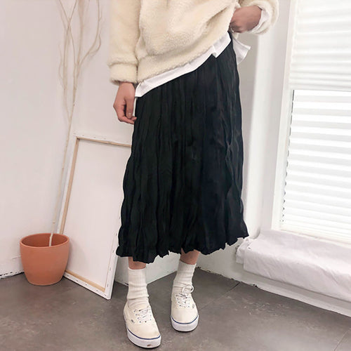 Thick Chiffon Ruched Pleated Skirt