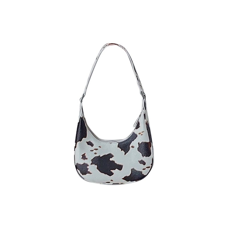 Vintage Cow Print Mini Hobo Bag