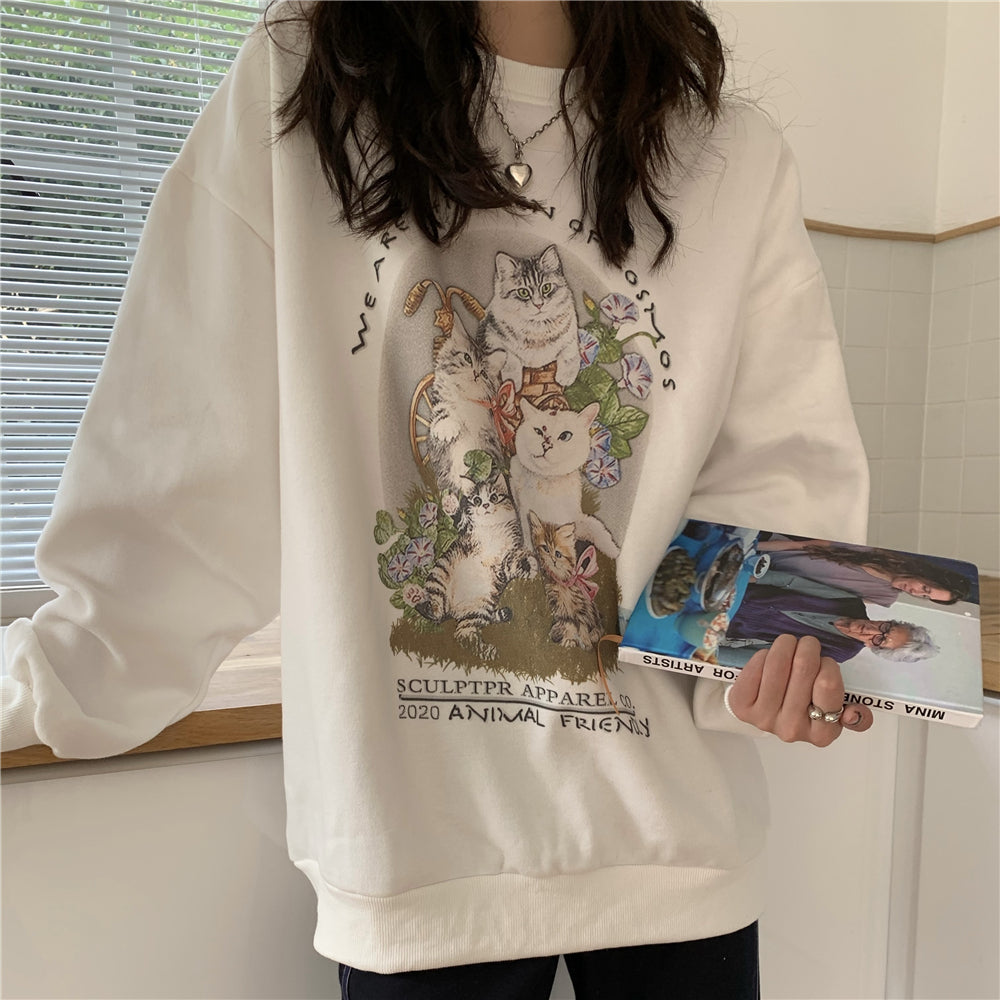 Vintage Kitty Printing Sweater