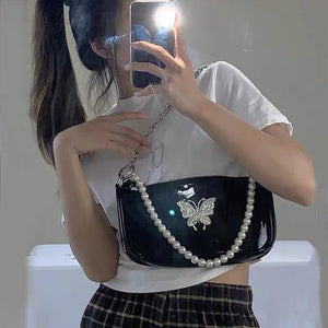 Dark Series Butterfly Pearl Sling Bag