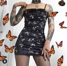 Load image into Gallery viewer, Black Butterfly Velvet Dress