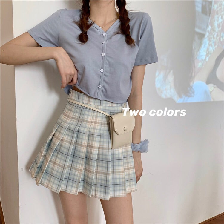 Ruby Plaid Pleated Skirt H7199