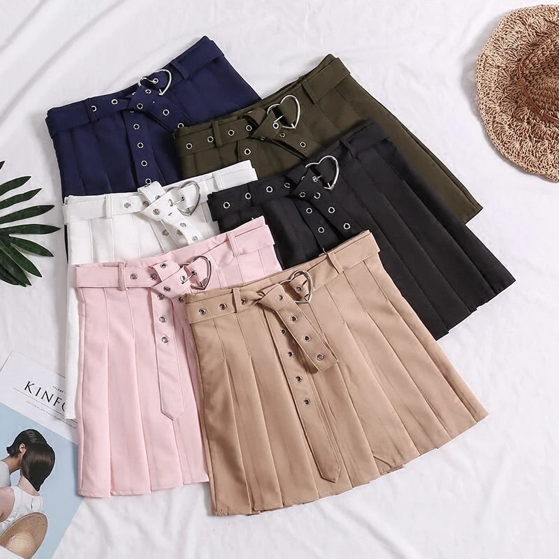 Heart Belt Pleated Skirt