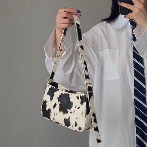 Cow Print French Style Armpit Bag