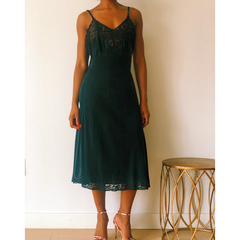 vintage silk slip lace black dress