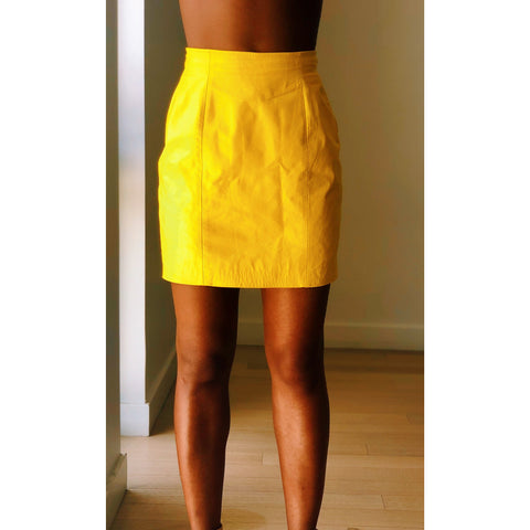 vintage yellow leather mini skirt short