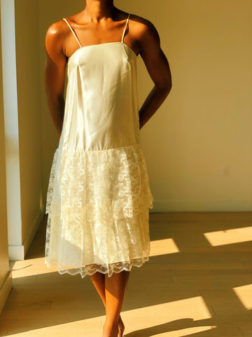 Vintage Cream Ruffled Slip Dress